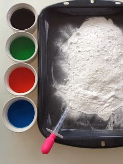Eyedropper Volcanos for the Kids. Pile baking soda on a pan. Put vinegar in little bowls and add some food coloring. Kids fill a dropper w/the liquid and drop onto the baking soda, making little volcanoes.