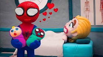 (5) Frozen Elsa and Spiderman Has Twin Babies 💗 Frozen Play Doh Cartoon Stop Motion - YouTube