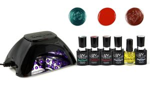 This kit includes an LED lamp and other materials for applying three gel nail polish colors, which resist chipping for up to three weeks