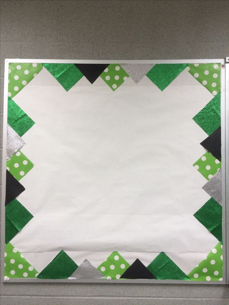 Bulletin board with school colors border. Add athletic schedules, news paper…