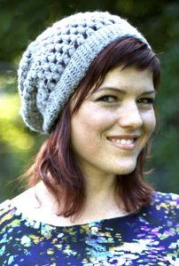 Grey Slouchie Beanie - I made this for my daughter and her friend, and they were a hit. it was surprisingly easy to make, although I did not like working with the Caron yarn.