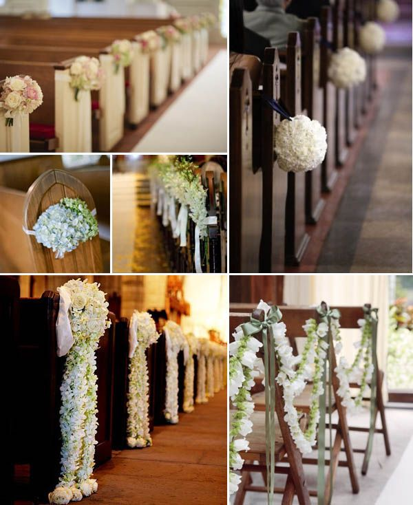 Pew flower deco for church - floor length flower leis OR pom pom bouquets