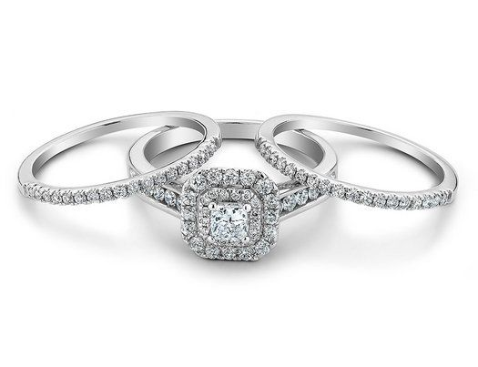 Best 25 double wedding bands ideas on pinterest double band princess cut diamond engagement and double wedding band 10 carat ctw in 14k white junglespirit Image collections