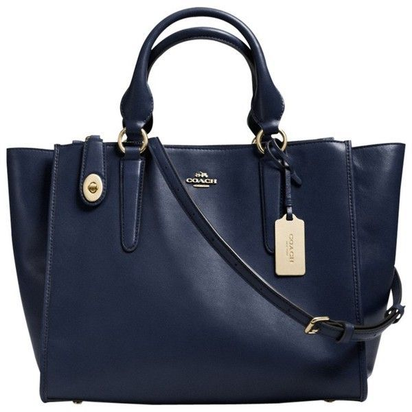 Coach Crosby Leather Carryall Bag, Navy (£375) ❤ liked on Polyvore featuring bags, handbags, navy, summer purses, top handle purse, blue leather purse, coach handbags and navy blue leather handbags