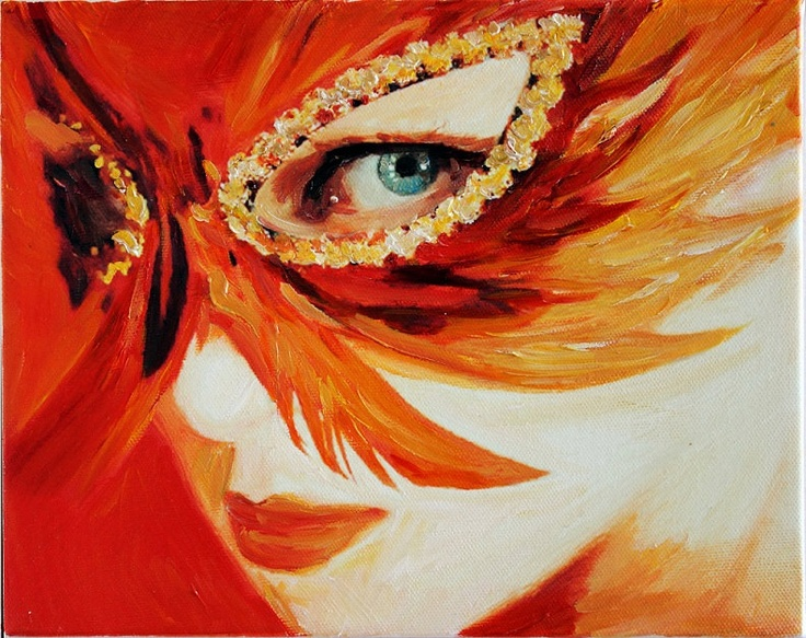 Venetian Mask Ii Fine Art Oil Painting Miniature On Canvas