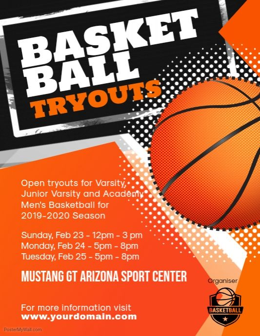 Basketball Tryouts Flyer Poster Template Basketball Tryouts Basketball Posters Sports Flyer