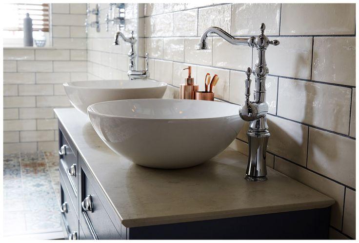 twin miro sit-on basins with regent tall monobloc mixer taps.