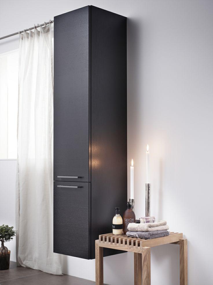 Badrumsförvaring från vår Artic-serie. Skapa effektiv förvaring i ditt badrum med Artic högskåp. Finns i färgerna Black Oak, Natural Oak och Matte White. | GUSTAVSBERG