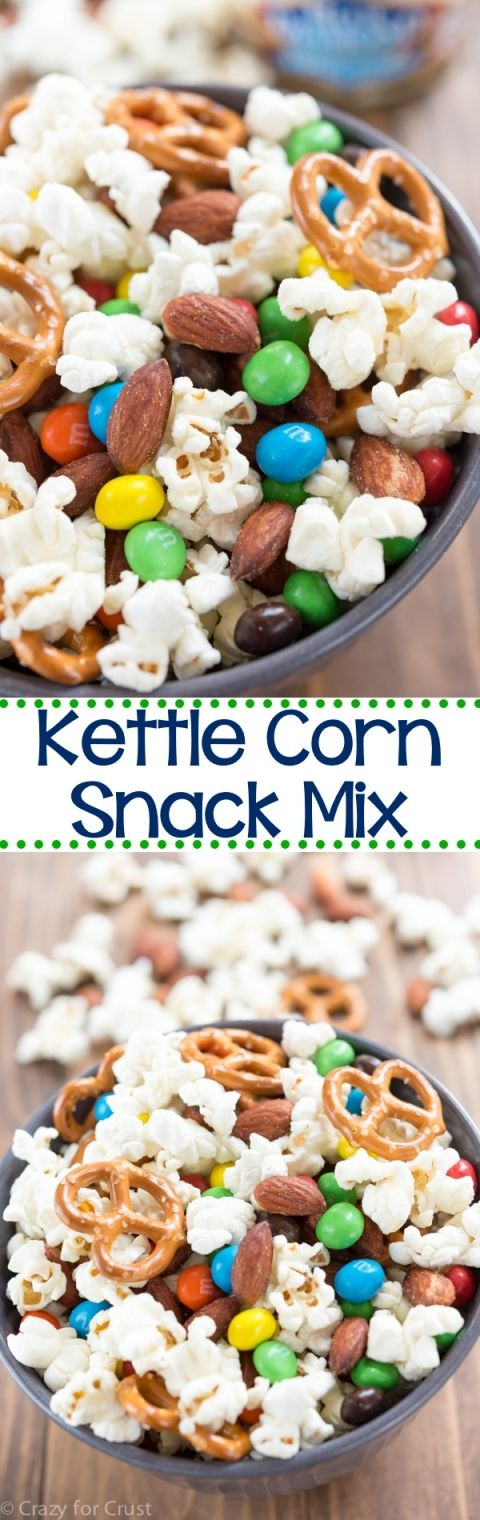 Kettle Corn Snack Mix with almonds! EASY homemade kettle corn is mixed with candy, almonds, and pretzels to make the perfect snack!
