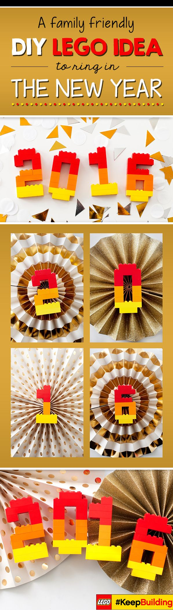 Ring in 2016 with a DIY LEGO New Years Centerpiece.  Find number building instructions and more on our LEGO #KeepBuilding pinterest board!