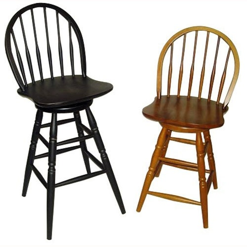 Counter Height Antique Black Swivel Windsor Stools