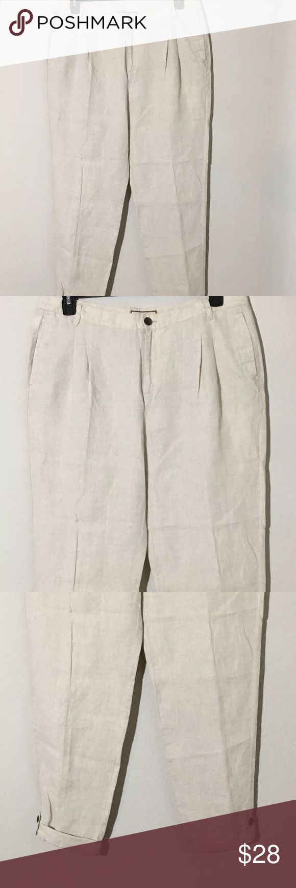 """MNG by Mango Beige Linen Adjustable Crop Pants 14 Women's MNG by Mango beige 100% Linen adjustable cropped pants. Can be worn as cropped or full length pants! Size 14. Measurements 18"""" waist laying flat, 29.5"""" short inseam (cropped), 32"""" long inseam (full length). Excellent condition no flaws Mango Pants Ankle & Cropped"""