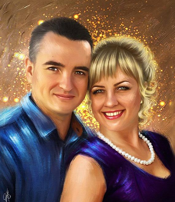 Custom portrait Oil portrait wedding Family portrait Portrait