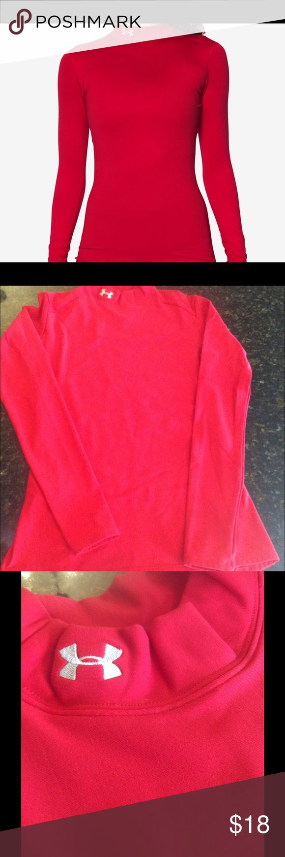Under armor mock turtle neck cold gear Vibrant red under gear for a xtreme cold protection Under Armour Tops
