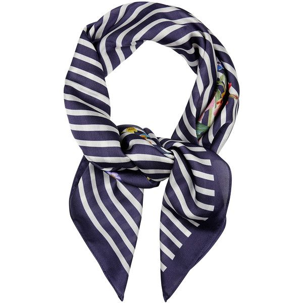 Accessorize Stripe & Floral Neckerchief Scarf (1.660 RUB) ❤ liked on Polyvore featuring accessories, scarves, striped scarves, accessorize scarves, floral scarves, striped shawl and floral print scarves