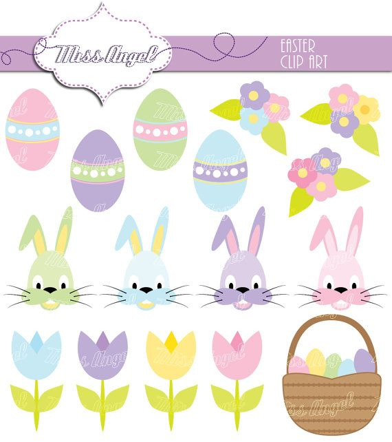 """Easter Clip art. 16 Easter drawings 6"""". Printable Eggs, Rabbits, Tulips, basket, flowers. by MissAngelClipArt."""