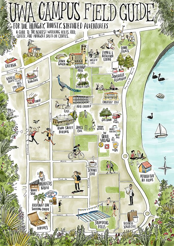 Jeffrey Phillips - UWA Campus Map showing some of the local cafes and restaurants