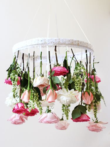 Flower Fixture  Take your floral arrangements to the next level — by hanging them from the ceiling.