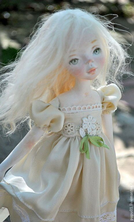 Купить Лето - бежевый, авторская ручная работа, кукла ручной работы, коллекционная кукла