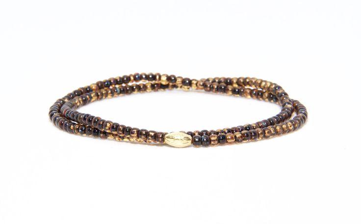 18K Solid Yellow Gold Beaded Bracelet Topaz Beads - Men's & Women's Stylish & Unique Bracelets