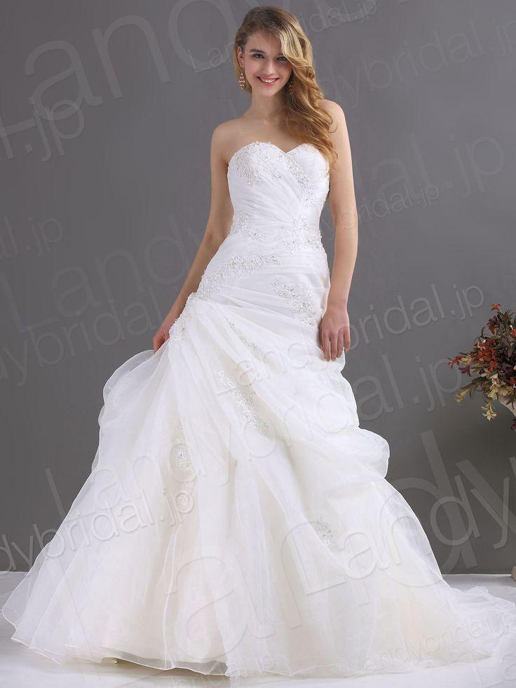 ウェディングドレス ハートネック ソフトマーメイド ローウェスト ホワイト ビーズ オーガンジー 編み上げ式 B12104