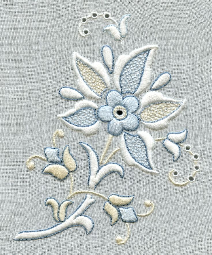 Whitework embroidery with cream and blue accents, stitched by Trish Burr
