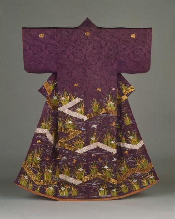 Woman's Kimono (Kosode) with Plank Bridges (Yatsuhashi), Irises, and Butterflies Japan, Late Edo period, 1615–1868; Meiji period, 1868–1912, 19th century; Silk damask with silk and gold metallic thread embroidery (LACMA)