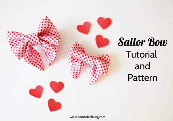 Sailor Bow Tutorial and Pattern - Simple and SO CUTE!  Could be used with any fabric for any season!  Two free patterns included (regular/bigger sized, and baby/smaller sized)