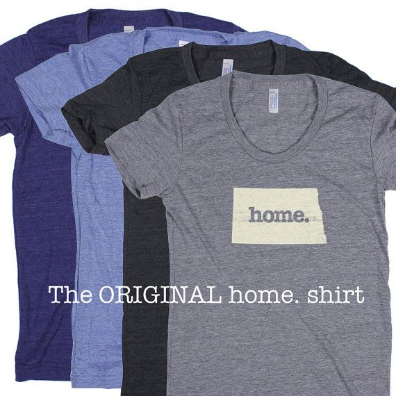 North Dakota Home. T-shirt Womens Cut by HomeStateApparel on Etsy. Made in the USA. Available for all states!