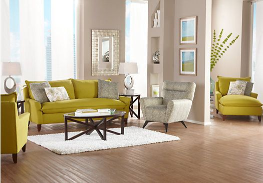 shop for a sofia vergara catalina chartreuse 7 pc living 20808 | 983ae909a6553de3aee9d8e9155a117b
