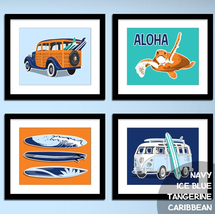 surf wagon - VW surf bus - beach childrens teen wall art -  custom colors…
