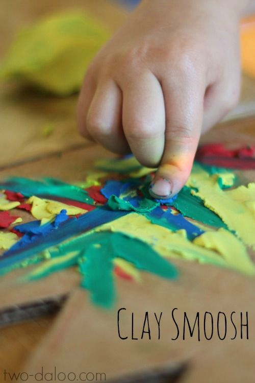 Use plasticine clay to create colorful art- a perfect toddler art technique! (and great for fine motor skills, too)