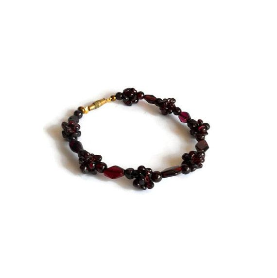 Garnet gemstone Jewelry bracelets Garnet beaded bracelet Women jewelry  Purple bracelet Gift for her