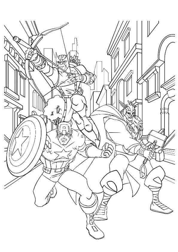 Captain America Thor And Hawkeye Avengers Coloring Avengers Coloring Pages Online Coloring Pages