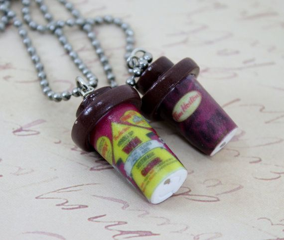 Tim Hortons Coffee Cup Necklace MTO by JegasCreations on Etsy