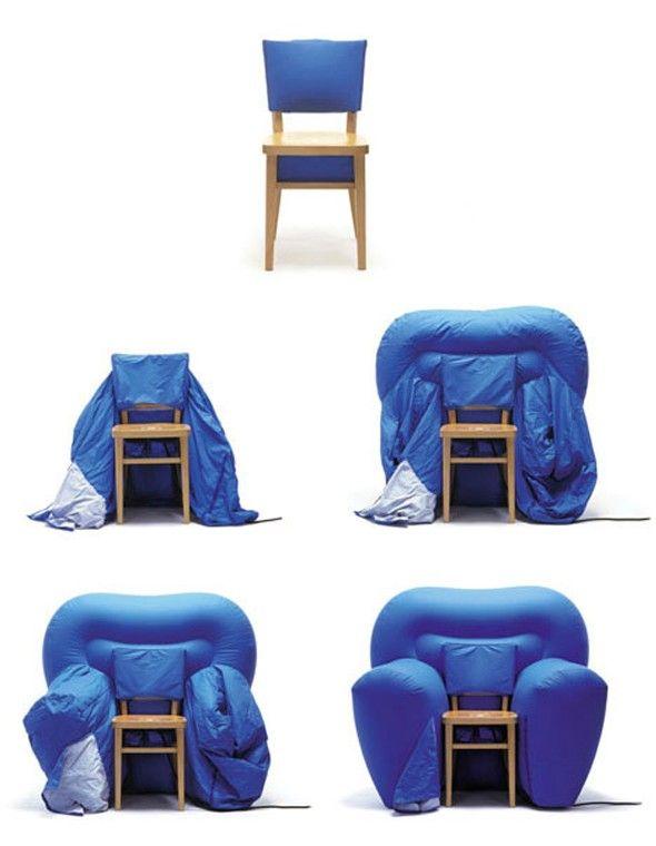 On ne vous présente plus Matali Crasset, grande designer française dont l'imagination est sans limite et les créations nombreuses. Elle a réalisé il y a peu, la chaise Decompression, une chaise à première vue basique en bois avec un dossier bleu. Mais celle-ci cache sous son assise tout un élément gonflable, qui une fois ouvert, vient créer un dossier plus large et des accoudoirs volumineux, transformant ainsi la chaise en fauteuil club !