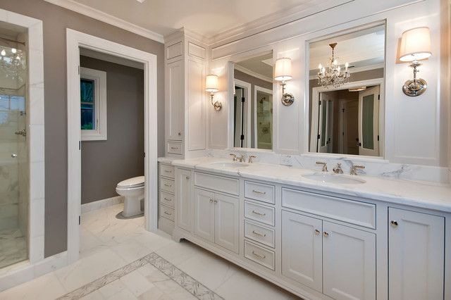 Picture of bath remodel white laquer custom vanity for Custom master bathroom designs