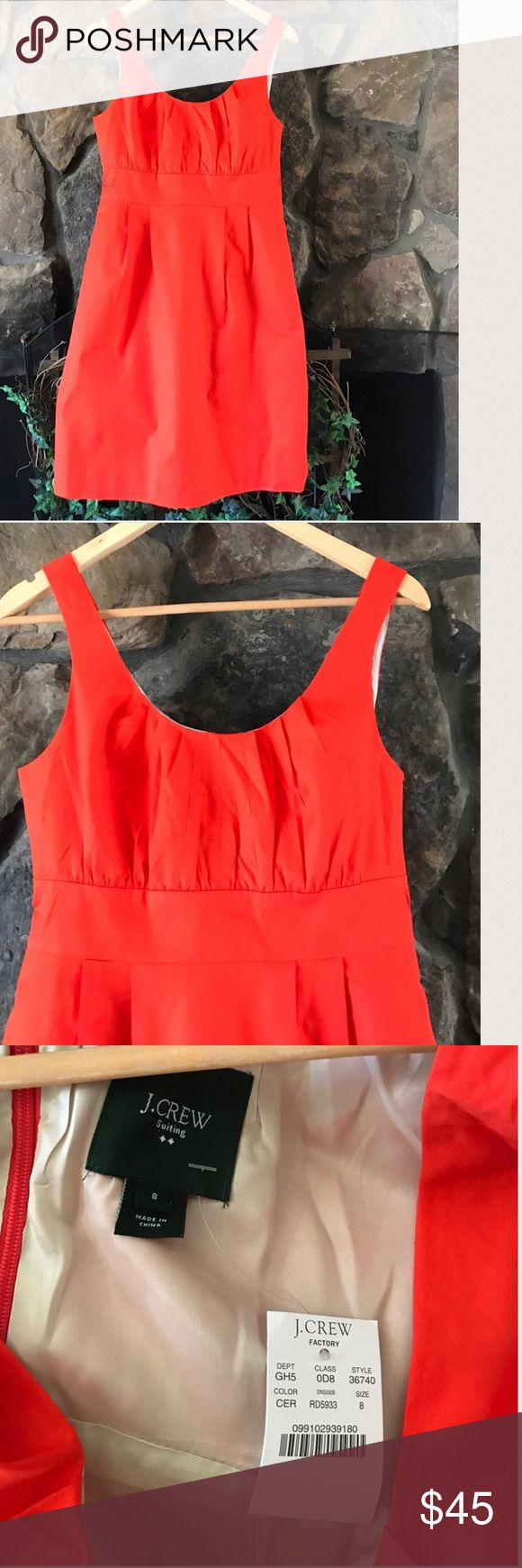 """🐞NWT J CREW SUITING ORANGE DRESS🐞 New with tag J crew suiting dress in reddish orange. Back zipping gathered bodice for shape definition with a band at the waist pleating. Fully lined. From J Crew Factory. Bust 18"""", waist 15"""", length 35 1/2"""". 97% cotton 3% spandex.  Lining 100% acetate. J. Crew Dresses Midi"""