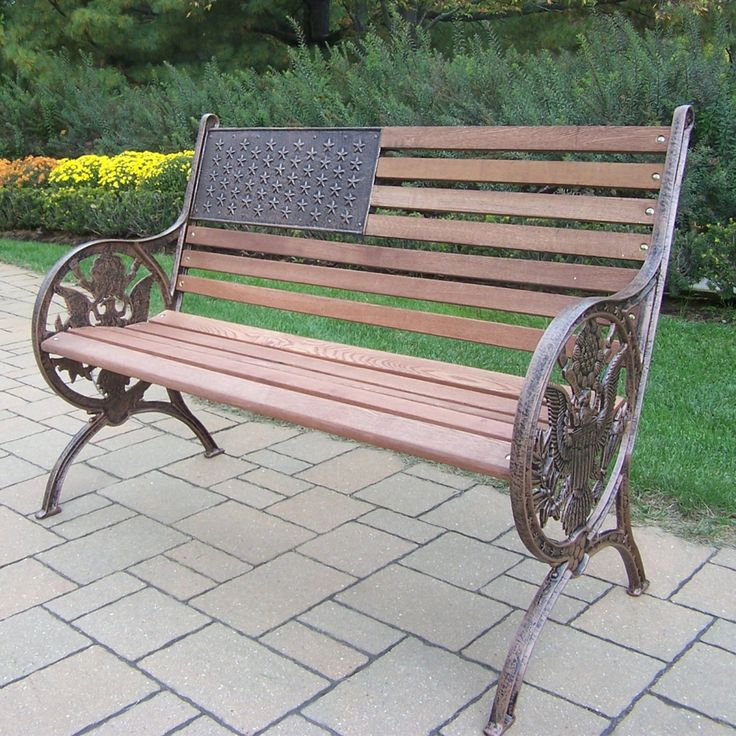 Oakland Living Proud American Old Glory Flag Cast Iron and Wood Bench - 6011-2-AB