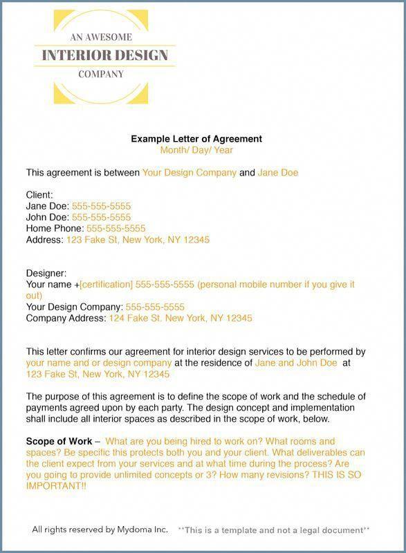 interior design contract sample  interiordesigncareer