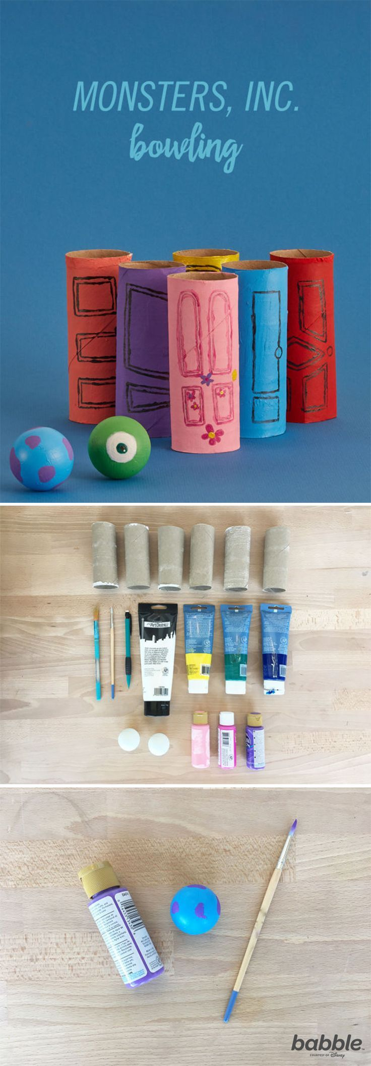 A round of bowling is always fun, but it's not exactly toddler-friendly. This DIY Monsters, Inc. Bowling game is the perfect way to let the whole family in on the classic activity. It's a simple craft to make. Grab some paint, ping pong balls, and toilet paper rolls around the house to help Mike and Sulley get their scare game rolling, to conquer each of these Monsters, Inc. doors! Enjoy the game this summer while cooling off indoors, or set it up outside for some fun in the sun with your…