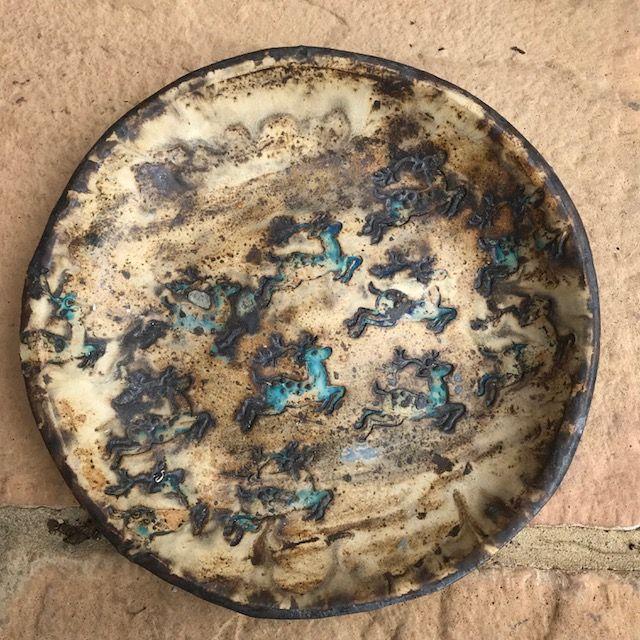 Reindeer plate - stoneware / barium glaze