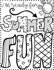 free summer quotes coloring page - School Coloring Pages For Kindergarten