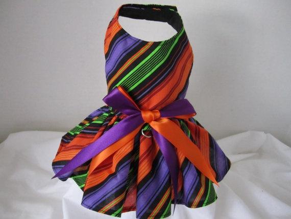 Dog Dress XS Halloween Stripes By by NinasCoutureCloset, $15.00