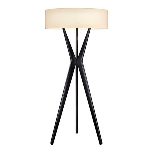 Bel Air Satin Black Three Light Large Floor Lamp With Off White Shade