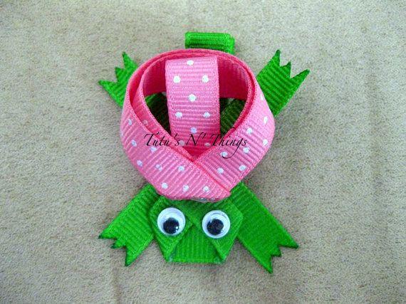 Turtle Ribbon Sculpture Hair Clip - Turtle Ribbon Sculpture Bow - Girl Clips - Baby Clips - Turtle Hair Clip