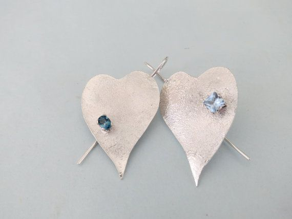 Sterling Silver Topaz Heart Earrings by Artistic925Jewellery