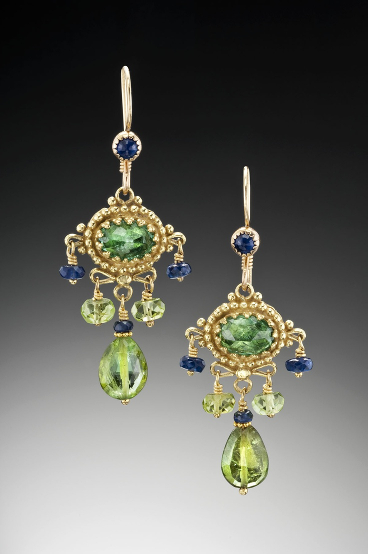 18k, Green Tourmaline, Sapphires & Peridot  I Adore Recreations Of Ancient  Jewelry Designs