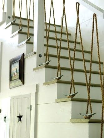 Rope cleated bannister.: Ideas, Stairs, Beach Houses, Staircase, Ropes, Beachhouse