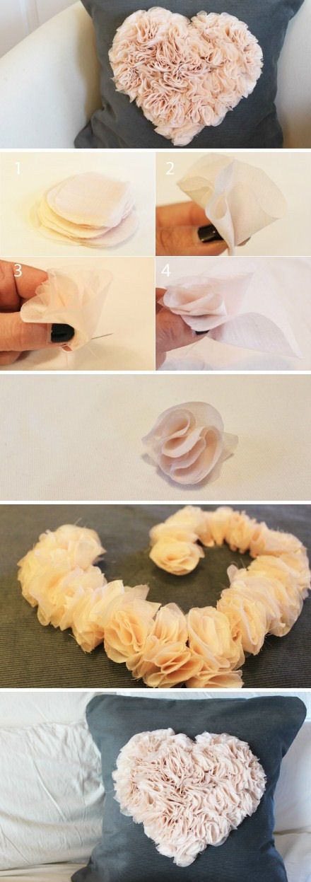 DIY Heart Pillow - textured surface creation; romantic fabric flowers tutorial #sewing #textiles